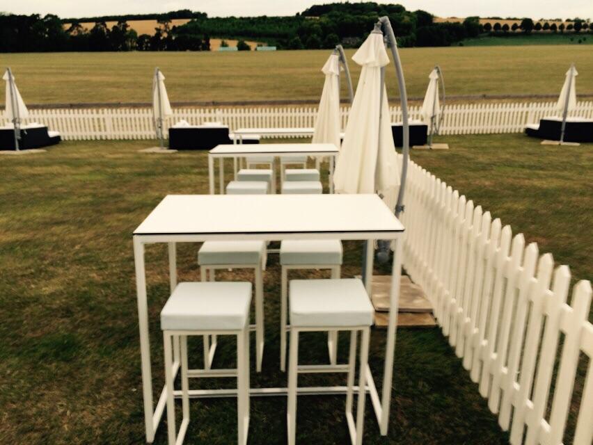 Kubo white bistro stool for hire rio lounge