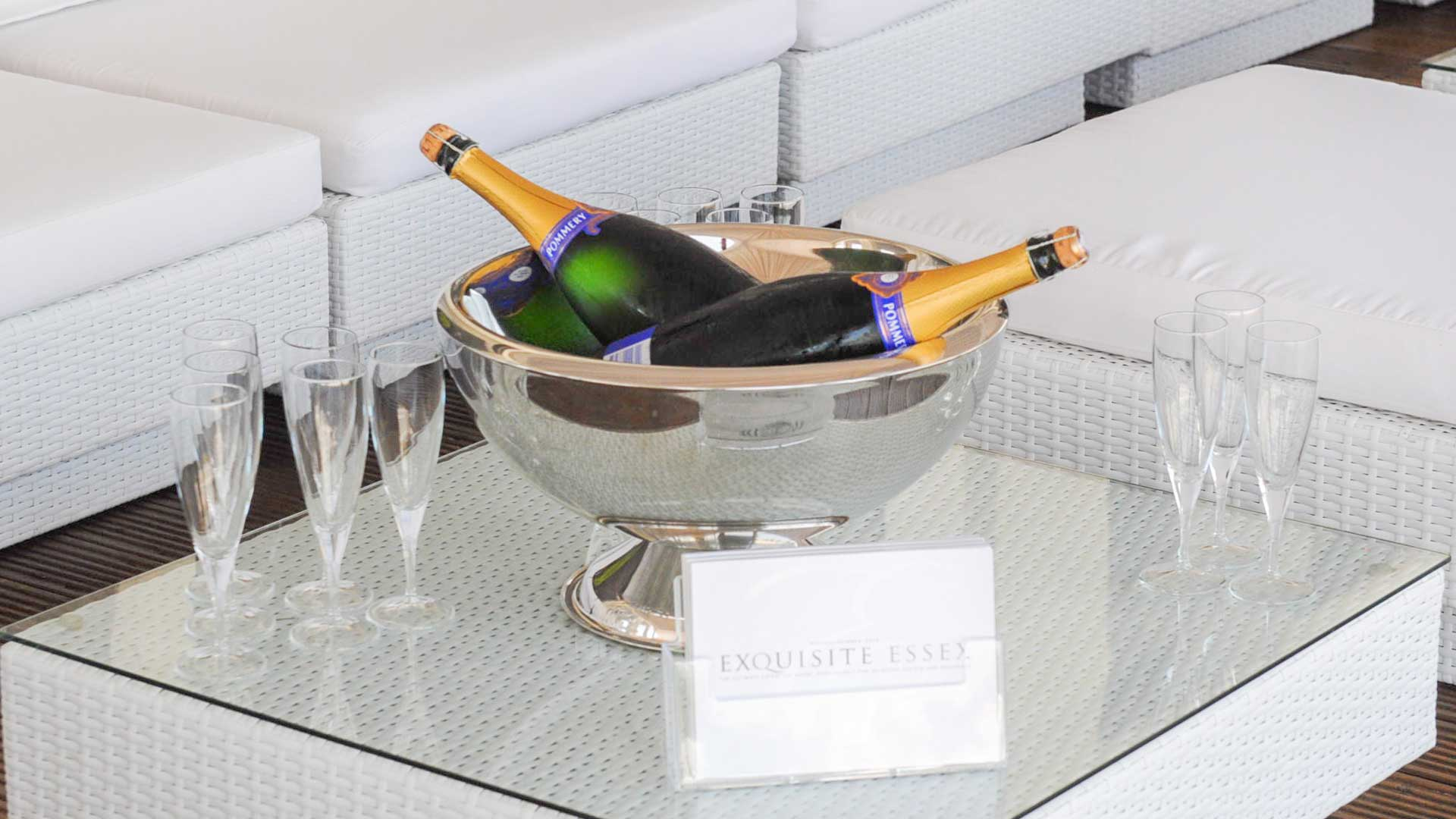Champagne-On-A-furniture-hire-table