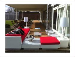 Rattan Furniture Hire in red