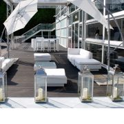 Cantilever umbrella hire with White Marrakesh sofa sets and Tall Lanterns