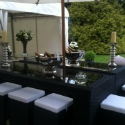 champagne bowl hired out with south beach bistro sets and daiquir poseur tables