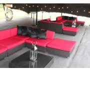 dark marrakesh sets with red seating cushions and black scatter cushions