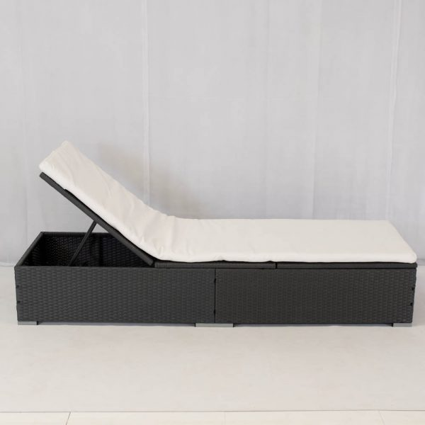 grey sunlounger with white mattress: daybed hire