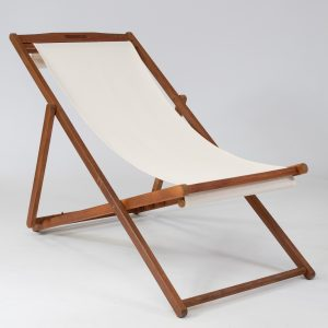 Linen deckchair for hire in white
