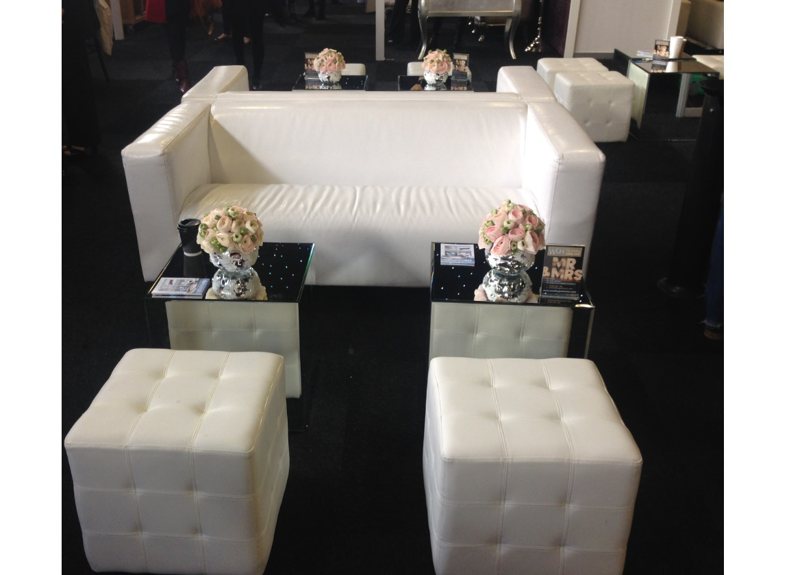 ... Mirror Cube Tables With Club Sofa And Chesterfield Ottoman ...