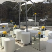 white garden umbrellas for hire