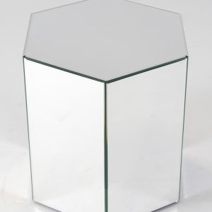 Octavia mirror plinth is a hexagonal mirrored plinth for hire