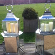 octavia mirror table with our rectangular lanterns