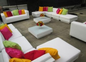 sofa set with coloured cushions: funky furniture hire