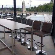 Mandalay silver bar stools and Kubo high bistro table at Olympic Park