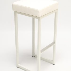 white bar stool with faux leather seat pad to hire in white