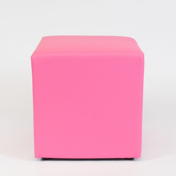 cube seating in faux leather in hot pink; ottoman hire