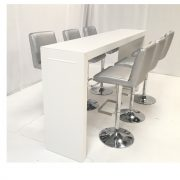 Titan high bar table with Mandalay silver bar stools