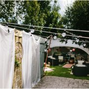 andaz copper ottomans in marquee at wedding