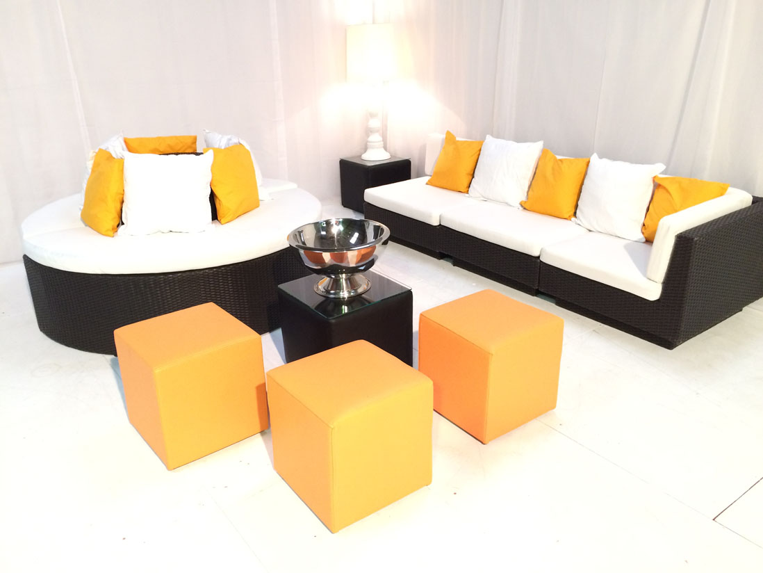 Orange Cube Seat Hire Club Ottoman Rio Lounge