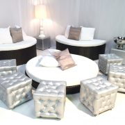 silver chesterfield ottomans with miami daybed for luxury wedding hire