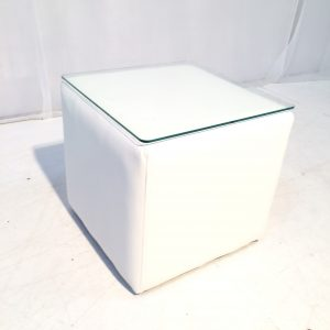 cabo small white cube table faux leather