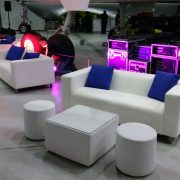 Cabo large white cube table with club lounge sofa and blue scatter cushions and club poufs