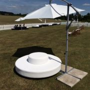 Ocean round white daybed with cantilever umbrella