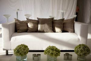 club sofa and pewter cushions: furniture hire hertfordshire
