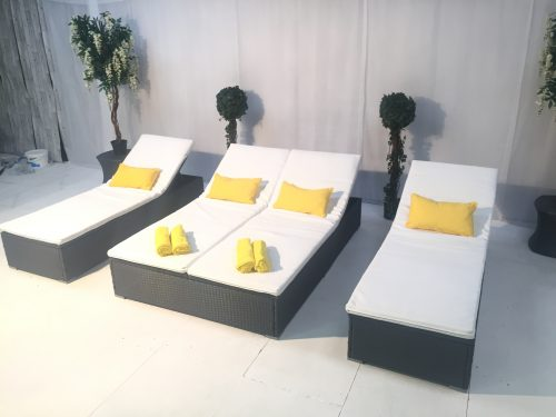 Portofino double and single daybed hire with yellow scatter cushions