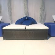 Portofino double daybed with blue scatter cushions