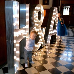 Event prop hire: large light up letters at a wedding