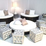 Miami round daybeds with Banyan Sofas and Silver Chesterfield Ottomans