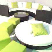 Black rattan sofa and daybed with lime cube seats