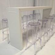 Titan white bar tables with clear Ghost bar stools