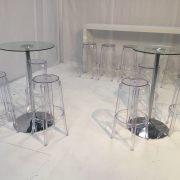 Ghost clear bar stools with Daiquiri glass poseur tables