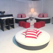 Miami daybeds with red and white striped scatter cushions, Banyan halves club ottomans, South beach bistro furnture and champagne bowls