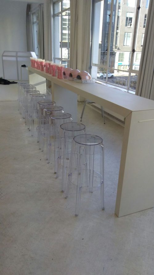 Titan bar tables with clear ghost bar stools