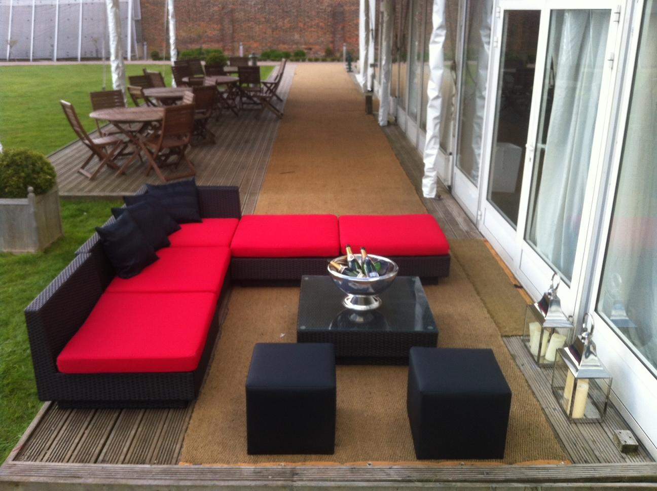 black rattan sofa with black cube seat