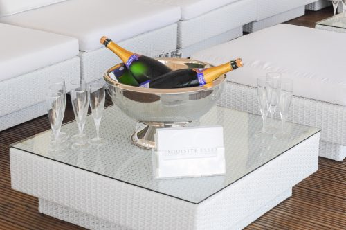 champagne bowl hired out with marrakesh club sets in white