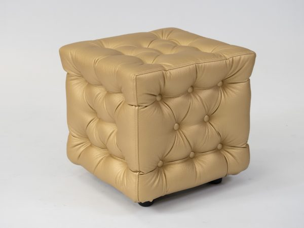gold chesterfield ottoman for hire