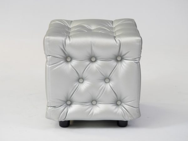 Chesterfield ottoman in silver for hire