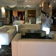 Club Lounge sofa and mirror cube table