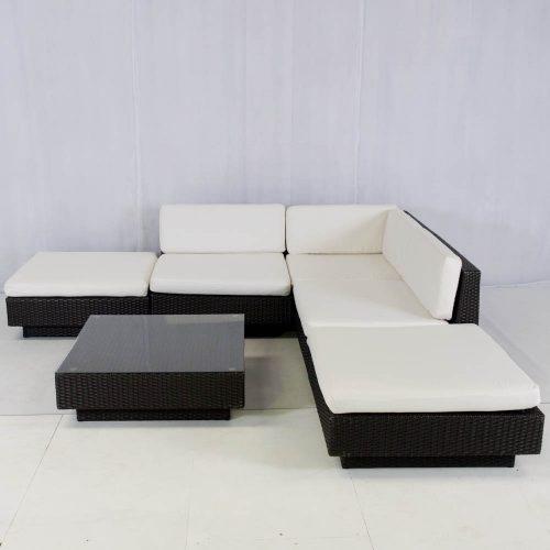 Rattan Furniture Hire: rattan sofa modules set up in a l-shape
