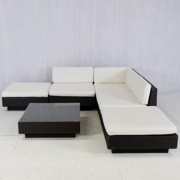 Rattan Furniture Hire: rattan sofa modules set up in a l-shape