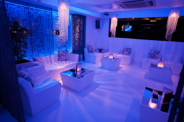 event furniture hire in nightclub setting