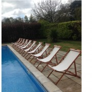 linen deckchair hire by poolside