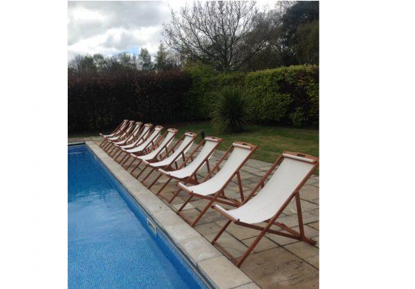 linen deckchair hire by poolside