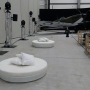 Round White Miami Daybeds at RAF Duxford with white scatter cushions