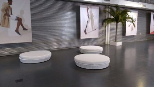Miami round white daybed hire at Olympia