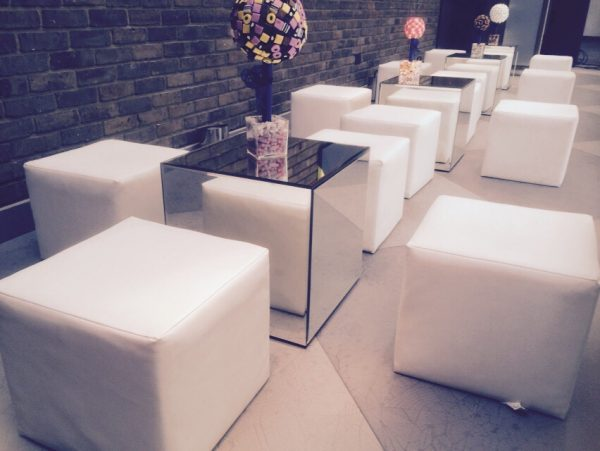 Chill Out Furniture Hire: A chill-out zone at home with mirrored tables!