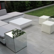 mirror cubes shown with marrakesh club set with grey covers and club ottomans in white