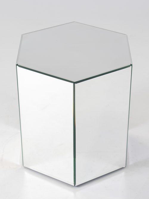 Octavia mirror plinth is a hexagonal mirrored plinth for hire