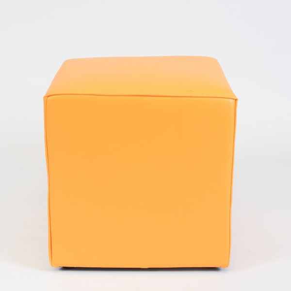 club ottoman hire - tangerine orange