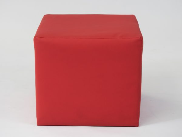 red cube ottoman seat to hire